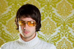 Retro man vintage glasses and turtleneck sweater Stock Photos