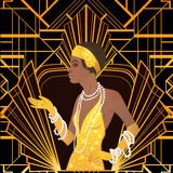 Retro manier: glamourmeisje van jaren '20 Afrikaanse Amerikaanse vrouw Royalty-vrije Stock Foto