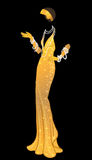 Retro manier: glamourmeisje van jaren '20 (Afrikaanse Amerikaanse vrouw) Royalty-vrije Stock Foto's