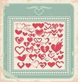 Retro manifesto con le icone del cuore per il giorno di biglietti di S. Valentino Fotografia Stock Libera da Diritti