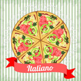 Retro manifesto con pizza italiana Fotografie Stock