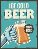 Retro manifesto d'annata della birra Fotografie Stock Libere da Diritti