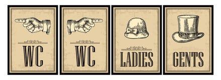 Retro manifesto d'annata di lerciume della toilette Signore, centesimi, indicanti dito Fotografia Stock