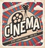 Retro manifesto del cinema illustrazione di stock