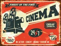Retro manifesto del cinema di lerciume Fotografia Stock Libera da Diritti