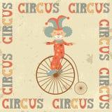 Retro manifesto del circo con il pagliaccio Fotografie Stock Libere da Diritti