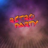 Retro manifesto 1980 del neon del partito Retro fondo della discoteca 80s con il TR Immagini Stock Libere da Diritti