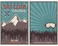 Retro manifesto di vacanza invernale o di estate Viaggio ed opuscolo di vacanza Insegna promozionale di campeggio Occhiali di pro Fotografie Stock Libere da Diritti