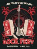 Retro manifesto di vettore della banda di musica rock con la chitarra illustrazione di stock