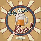 Retro manifesto di vettore della birra Fotografia Stock