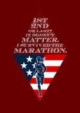 Retro manifesto femminile americano del corridore maratona Immagine Stock