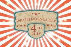 Retro manifesto - festa dell'indipendenza Fondo leggero d'annata Fotografia Stock