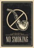 Retro manifesto - il segno non fumatori nello stile d'annata Illustrazione incisa vettore su fondo scuro Fotografie Stock
