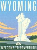Retro manifesto illustrato di viaggio per il Wyoming Fotografia Stock Libera da Diritti