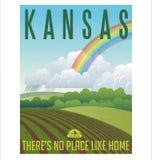 Retro manifesto illustrato di viaggio per lo stato di Kansas, Stati Uniti Fotografie Stock