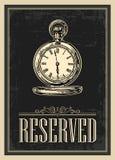 Retro manifesto - la prenotazione del segno nello stile d'annata con l'orologio da tasca antico Fotografia Stock