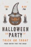 Retro manifesto spaventoso d'annata di Halloween con la zucca Fotografia Stock Libera da Diritti
