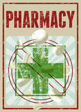 Retro manifesto tipografico della farmacia di lerciume Illustrazione di vettore Fotografia Stock