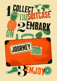 Retro manifesto tipografico di viaggio di lerciume Vecchia valigia di progettazione d'annata con le etichette Illustrazione di ve Fotografia Stock