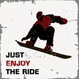 Retro manifesto volo dello snowboarder Goda appena del giro Fotografia Stock