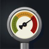 Retro manometer Realistische uitstekende drukmaat Metaaldruksensor Stock Foto