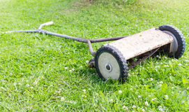 Retro manual lawnmower Royalty Free Stock Image