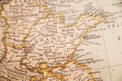 Retro map of Shandong province of China. A brown atlas of shandong province of China ,Shandong is a coastal province of China Royalty Free Stock Images