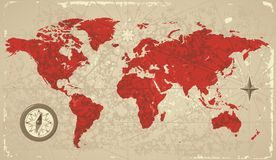 Retro map of the World Stock Photo
