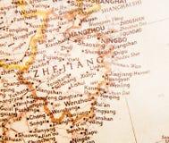 Retro map of Zhejiang province of China. A brown atlas of Zhejiang province of China ,Zhejiang is a coastal province of China Stock Photography