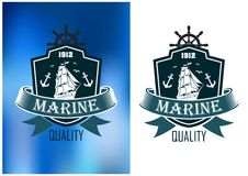 Retro marine heraldic banner. Marine quality emblems of badges in two color variations with a shield enclosing a tall ship with sails set and a ribbon banner Royalty Free Stock Images