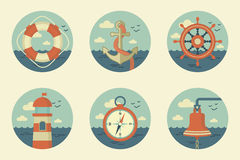 Retro marine icons Royalty Free Stock Image