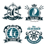 Retro marine and nautical symbols Royalty Free Stock Images