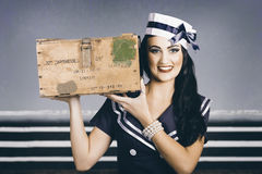 Retro maritime portrait. Woman in sailor fashion Royalty Free Stock Photography