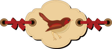 Retro markering met vogel Stock Afbeelding
