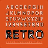 Retro marquee font. Vector illustration on red background royalty free illustration