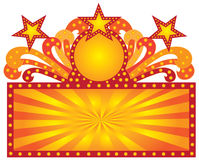 Retro Marquee Sign with Sunrays Stars vector Illustration Stock Photos
