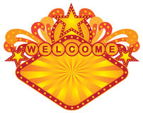 Retro Marquee Welcome Sign vector Illustration Stock Images