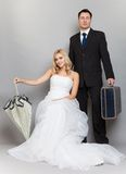 Retro married couple bride and groom studio shot Royalty Free Stock Photo