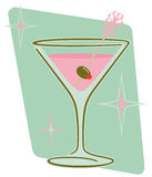 Retro Martini. Retro 1950s style martini with olive on frizzle party pick and abstract background. Vector EPS8 file also available royalty free illustration