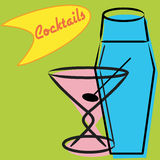 Retro martini en schudbeker Royalty-vrije Stock Fotografie