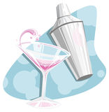 Retro martini and shaker. Retro 50's style illustration of a splashing cosmopolitan martini and shaker royalty free illustration