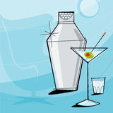 Retro Martini (Vector). Retro Martini Vignette with shaker and shot glass. Each item is grouped so you can use them independently from the background. Layered Royalty Free Stock Photography
