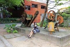 Retro maskin i den redtory idérika trädgården, guangzhou, porslin Royaltyfri Fotografi