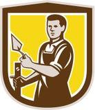 Retro Mason Masonry Worker Trowel Shield stock illustrationer