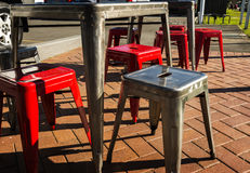 Retro Matal Chairs Tables Outside Stock Photo