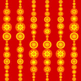 Retro mattonelle rosse di giallo arancio con i soli stilizzati Immagine Stock Libera da Diritti