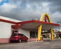 Retro McDonald`s drive-thru Royalty Free Stock Photos
