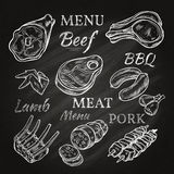 Retro Meat Menu Icons On Chalkboard Stock Photography