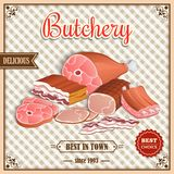 Retro meat poster. Meat label best choice retro butchery poster on squared background vector illustration stock illustration