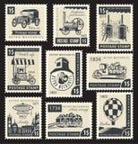 Retro mechanics. Set of stamps with a retro mechanics Royalty Free Stock Photos